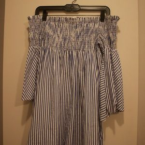 ZARA blue/white striped off-shoulder dress